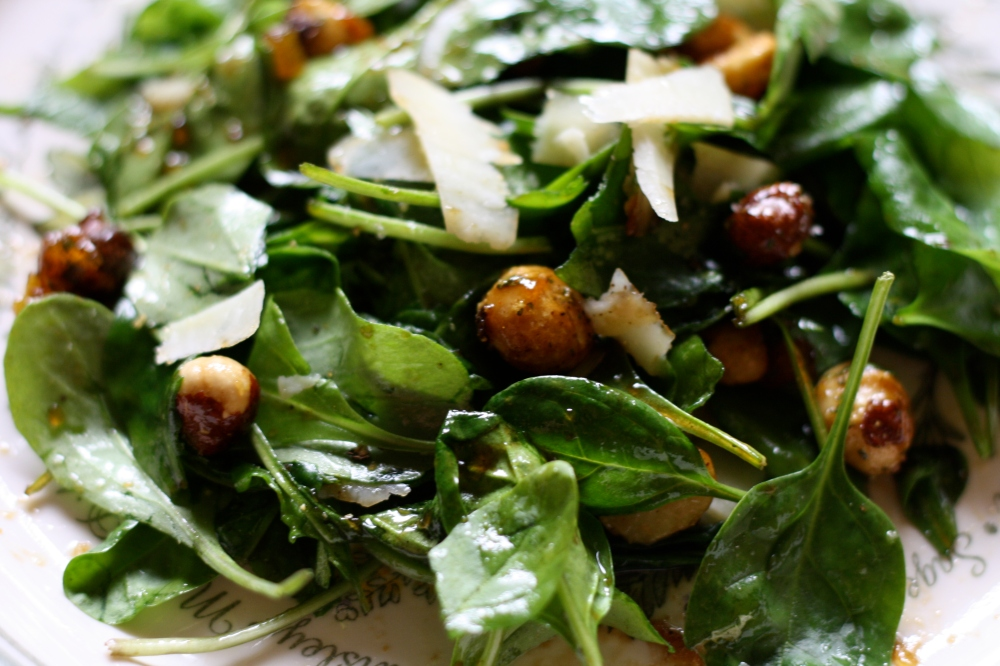 Spinach & Arugula Salad w/ Fig Vinaigrette